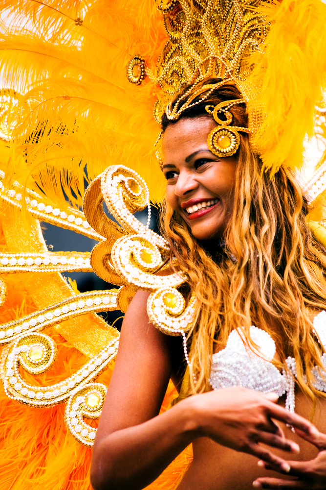 An unidentified female samba dancer participates at the annual samba festival in Coburg, Germany on July
