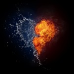 Heart in Fire and Water Isolated on Black Background