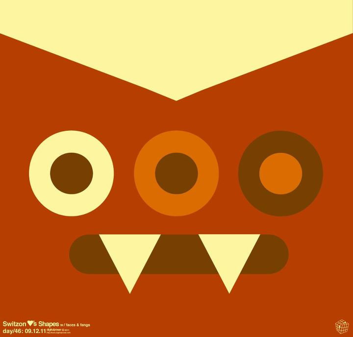 Shapes With Faces And Fangs